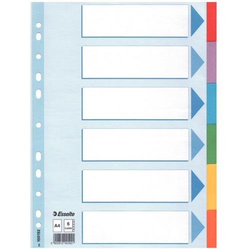 PRZEKŁADKI KARTONOWE Z KARTĄ OPISOWĄ ESSELTE, A4 6 KART 100192, 026,15436