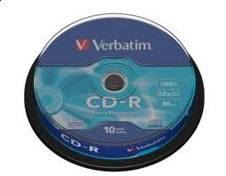 PŁYTA CD-R 700MB VERBATIM OPAKOWANIE CAKE (10SZT), 050,00518