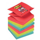 BLOCZKI SAMOPRZYLEPNE POST-IT SUPER STICKY Z-NOTES, PALETA BORA BORA, 76 X 76 MM, 12 X 90 KART. R330-6SS