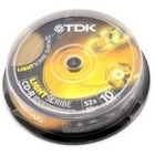 DYSK CD-R TDK 700MB 52X LIGHTSCRIBE CAKE BOX 10 SZT. CD-R80CBA10LS-B_X